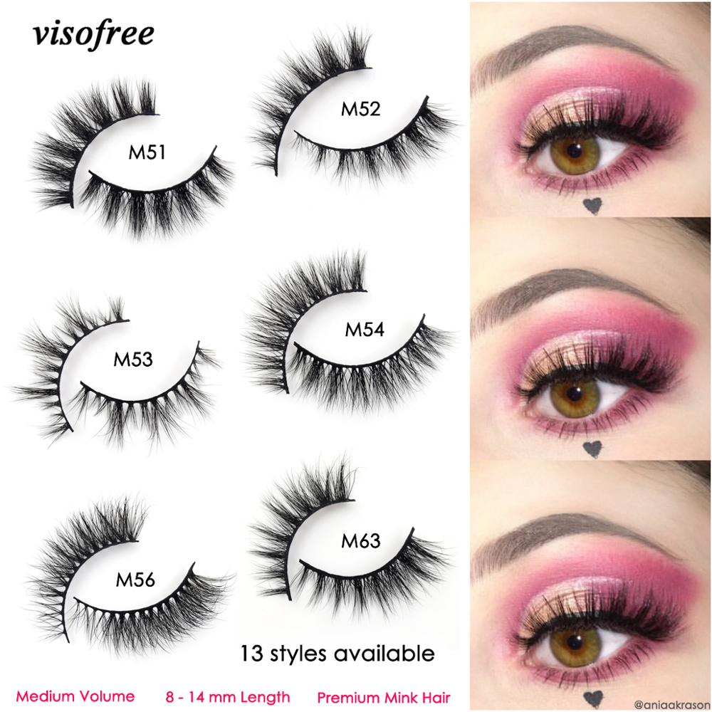 Visofree 3D Mink Eyelashes Makeup Eyelashes Handcrafted Cruel-free Mink Lashes Natural Medium Volume Lashes False Eyelashes