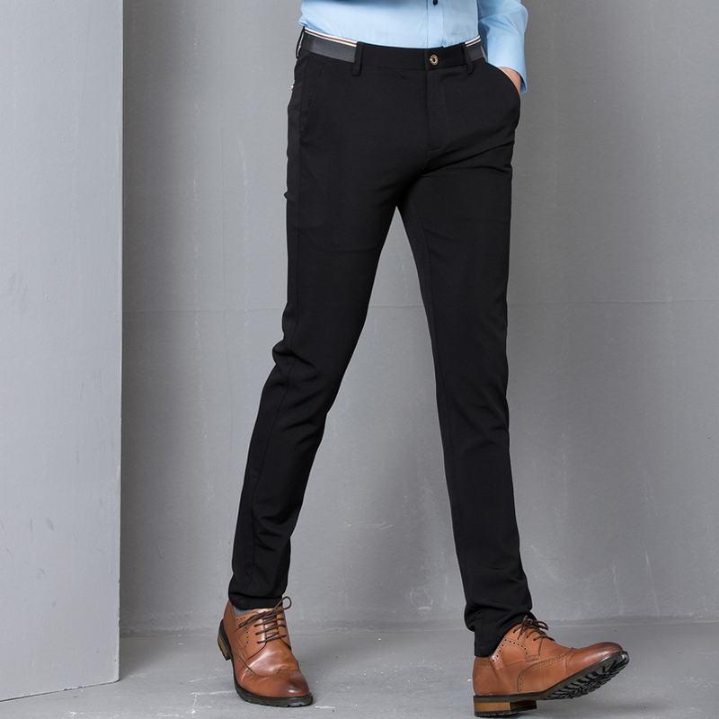 1323 32 De Descuentopantalones De Vestir Ajustados Elásticos Negros Hombres Fiesta Oficina Formal Hombres Traje Lápiz Pantalones Negocios Slim
