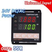 PID Temperature Controller Digital Thermostat Regulator in 24V DC AC Output for SSR Thermocouple K or J Sensor Input Voltage