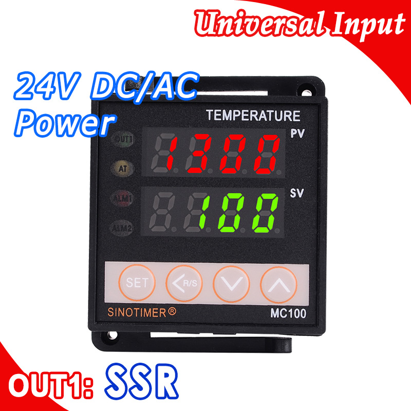 PID Temperature Controller Digital Thermostat Regulator in 24V DC AC Output for SSR Thermocouple K or J Sensor Input Voltage