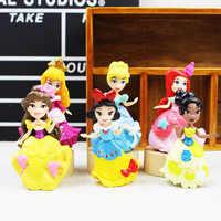6 sztuk/zestaw księżniczka kopciuszek królowa Belle Ariel statua lalki pcv figurki księżniczka figurki zabawki dla dzieci prezent
