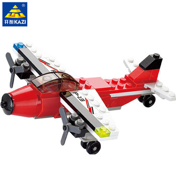 KAZI 85006 City Fire Patrol Aircraft Plane Building Blocks Sets Airplane Model Bricks Educational Toys for Children