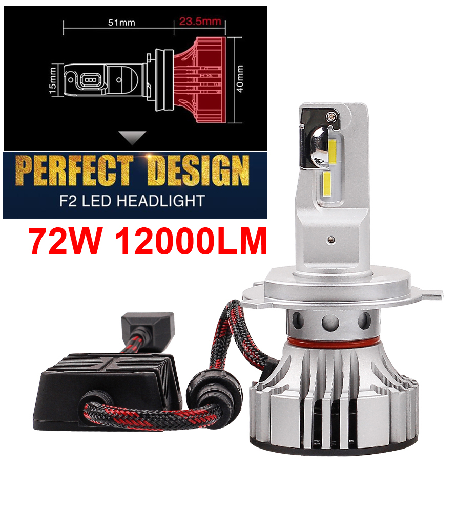 1 Set H4 F2 LED Headlight HB2 9003 H7 H8 H9 H11 9005 9006 HB3 HB4