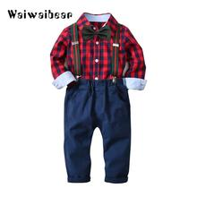 Baby Kids Boys Suits Long- Sleeved Clothes Newborn Baby Sets Kids Clothing Gentleman Suit Plaid Shirt+Bow Tie+Suspender Trousers недорого