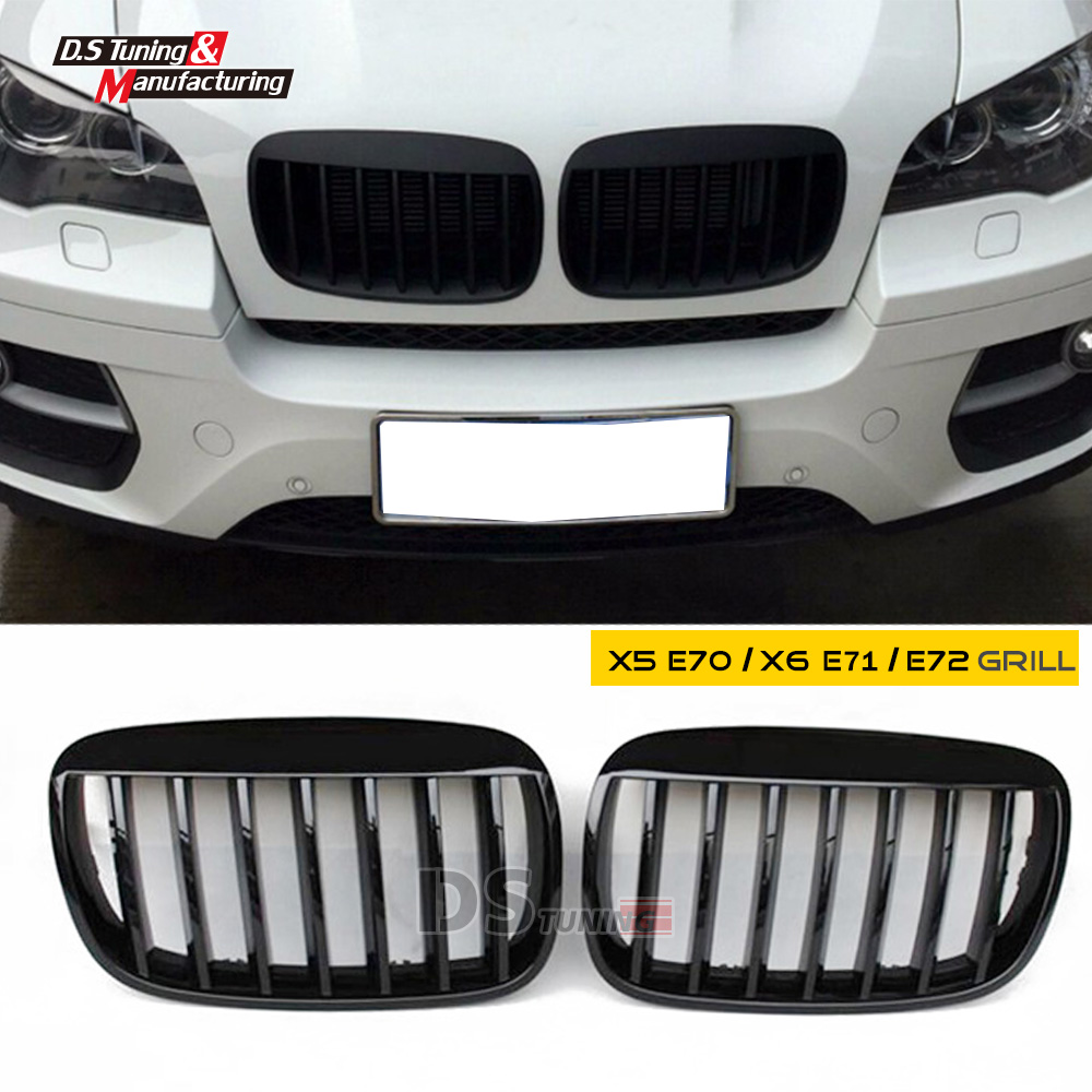x5 e70 x6 e71 abs material single slat front grid hood grille grill for bmw e70 e71 2008-2014 model replacement bumper grill kidney grille front grid for bmw x5 e70 x6 e71 2007 2014 abs material replacement grid front hood