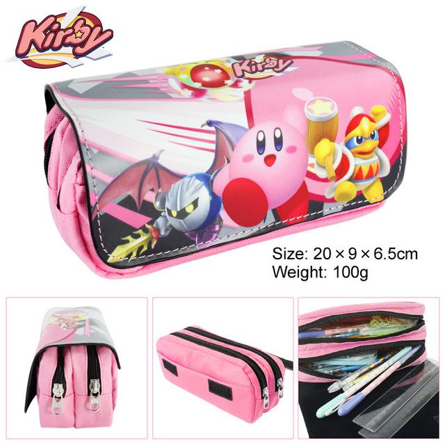 Kirby Kirby animado pluma grande multifunción de doble cremallera bolsa de carpeta de la historieta de la pluma