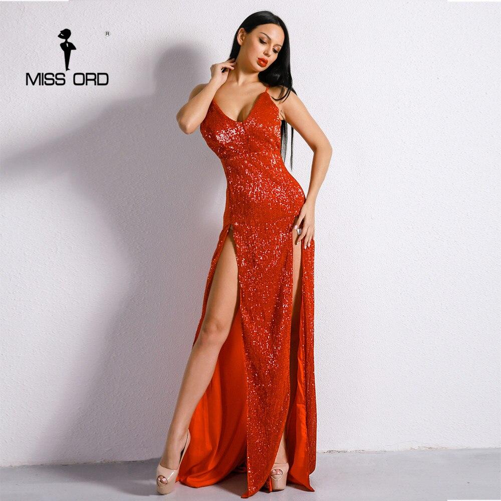 Missord 2019 пикантные V шеи с плеча спинки женские элегантные платья блесток два Разделение Макси Платье для вечеринки FT8398-1