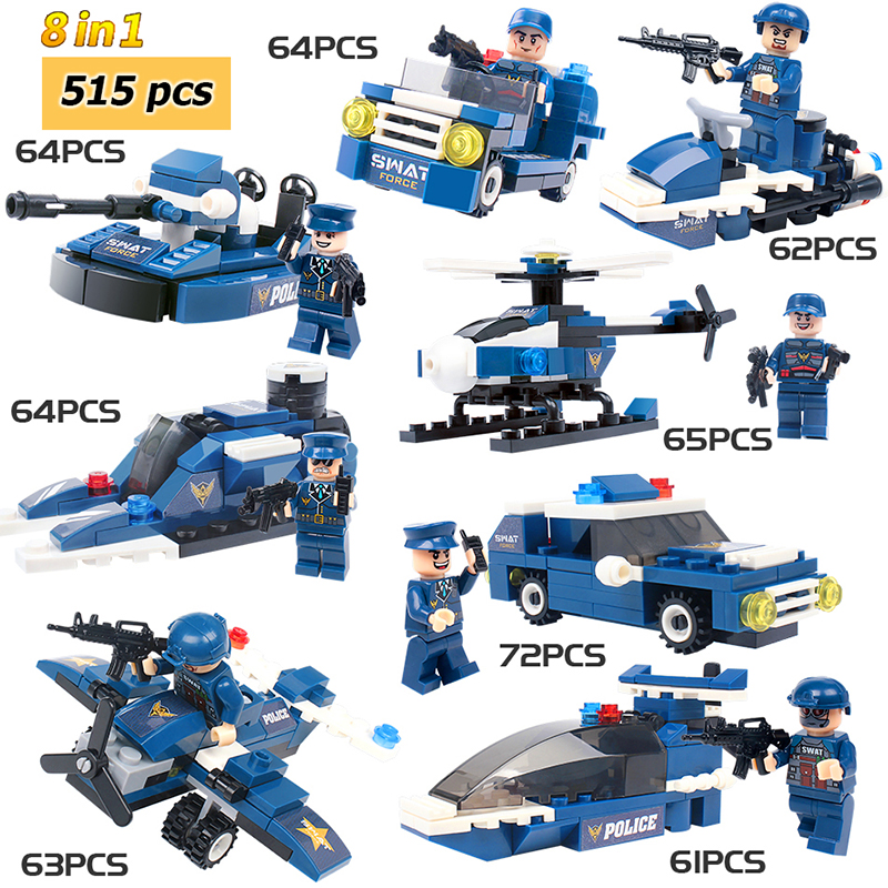 8 In 1 515pcs Building Blocks Toys City Police Series Special Police Puzzle Action For Children New Year Gifts Education Toy#E8 In 1 515pcs Building Blocks Toys City Police Series Special Police Puzzle Action For Children New Year Gifts Education Toy#E