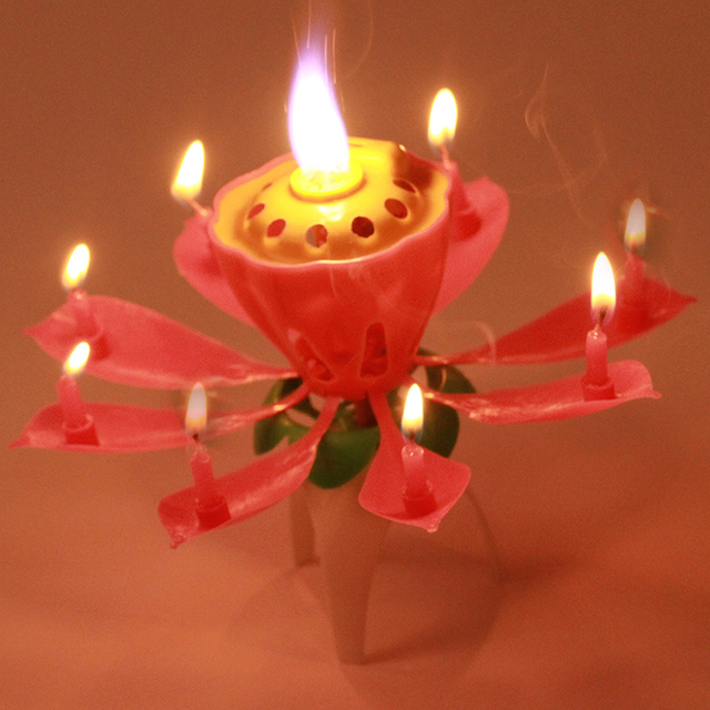 Hot 2016 Blossom Lotus Flower Candle Birthday Party Music Sparkle Cake Topper Candles Light Pink