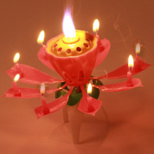 Hot 2016 Blossom Lotus Flower Candle Birthday Party Music Sparkle Cake Topper Candles Light Pink Decoration Gift GI670976