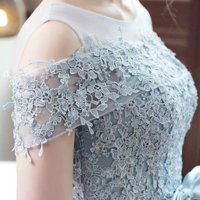 LAMYA 2019 New Short Sation Prom Dress Simple Lace Boat Neck Formal Evening Party Dresses Custiom Size Vestido de Festa Curto 4