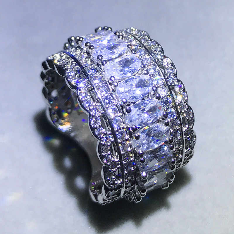 Luxury Female Big Zircon Stone Ring Vintage 925 Silver Wedding Rings For Women 2019 Fashion Engagement Ring Jewelry Gifts