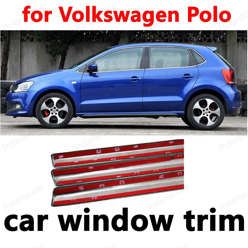 For Volkswagen Polo Car Styling Decoration Strips Window Trim Without center pillar Stainless Steel 16pcs stainless steel full window trim without center pillar cover 2016 2017 for opel astra k hatchback car styling