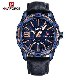 Image 2 - NAVIFORCE reloj deportivo de cuarzo para hombre, resistente al agua, de cuero genuino, fecha, semana, masculino