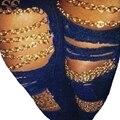 2017 Sexy Jeans Gastados Del Agujero Rasgado Denim Lápiz Pantalones Causal Manera de Las Ventas Calientes Del Estilo Cadena de Oro Azul Para Las Mujeres