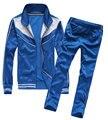 2017 New Style Spring/Autumn Mens Tracksuit Set Casual Solid Men's Leisure Suit Men Jacket+Pants 3 Colors