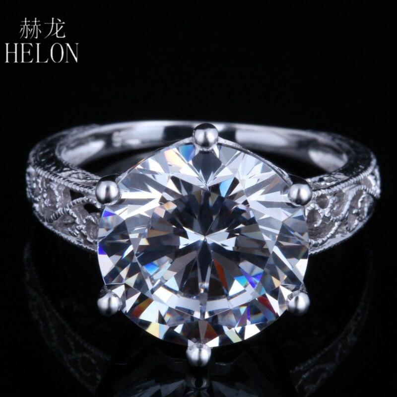 HELON 12mm ronde véritable Zircon cubique bague femmes en argent Sterling 925 Style Antique fiançailles mariage fête marque bijoux fins