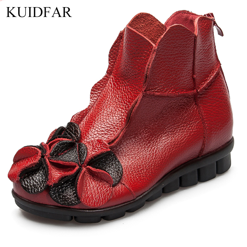 KUIDFAR 2018 Fashions Snow Boots Women's Shoes Mother Ladies Female Plush Winter Fur Rubber Genuine Leather Flats Round Toe beango fashions snow boots women s winter fur rubber genuine leather lace up flats round toe mid calf new comfort warm boots