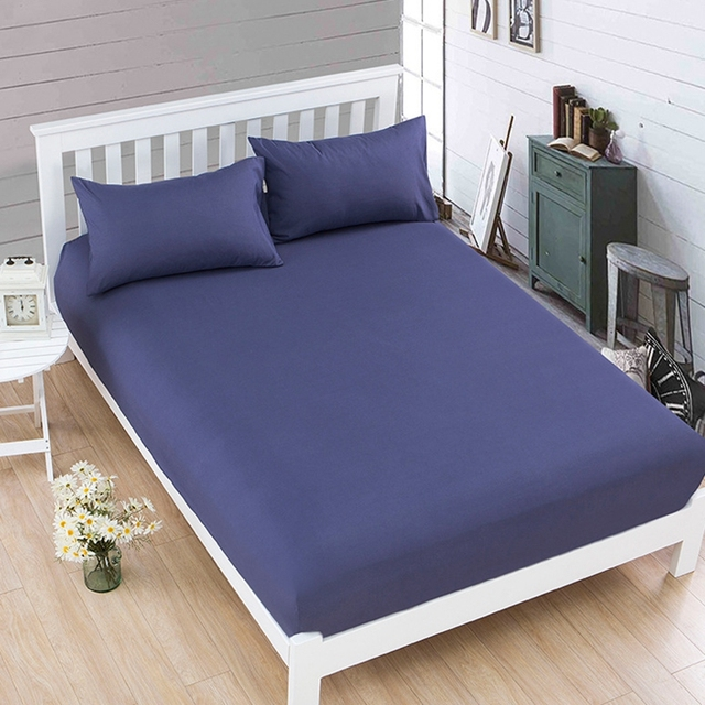 1pcs Cotton Polyester Solid Color Ed Sheet Bedding Mattress Cover Four Corners With Elastic Band Bedspread S Bed Sheets
