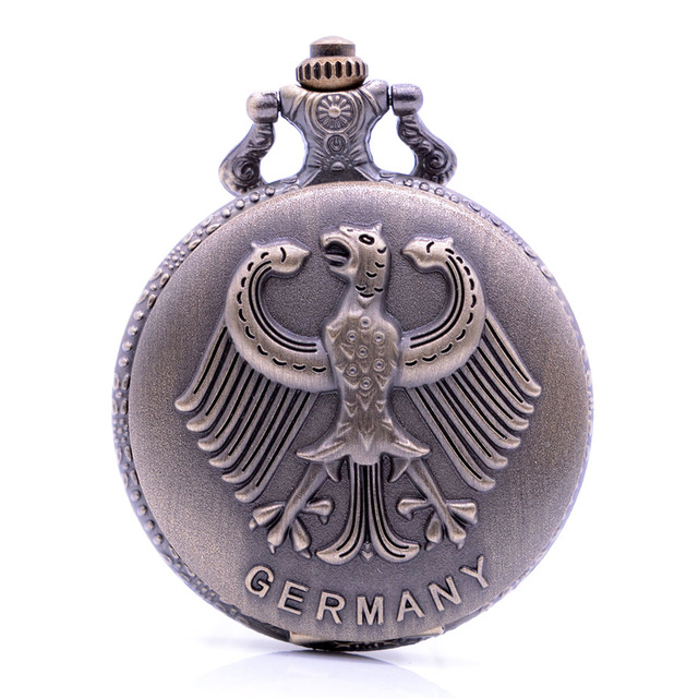 Retro Coat of arms of Germany Emboss Quartz Pocket Watch Analog Pendant Necklace