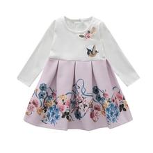 Bongawan/платье с длинными рукавами для маленьких девочек одежда с вышитыми цветами для девочек, платье принцессы костюмы для девочек от 18 месяцев до 4 лет
