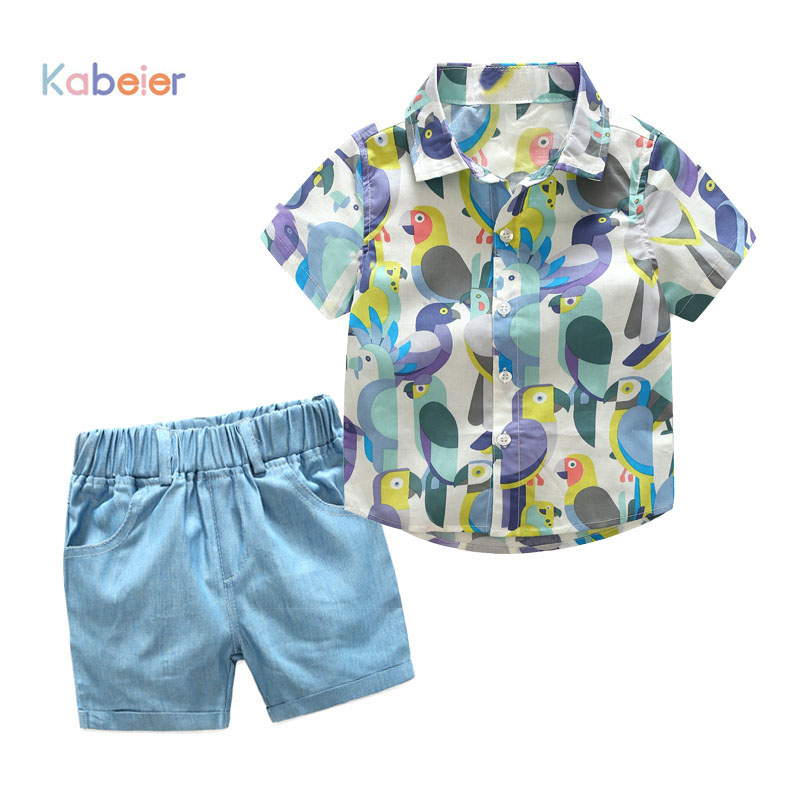 summer boy clothes birds printed shirt with blue shorts 2 pieces/set children clothing suit for toddler boys suit set fashion toddler boys clothing clothes set minions cartoon t shirt shorts children camouflage kid sport suit for summer outfit boy 4 year