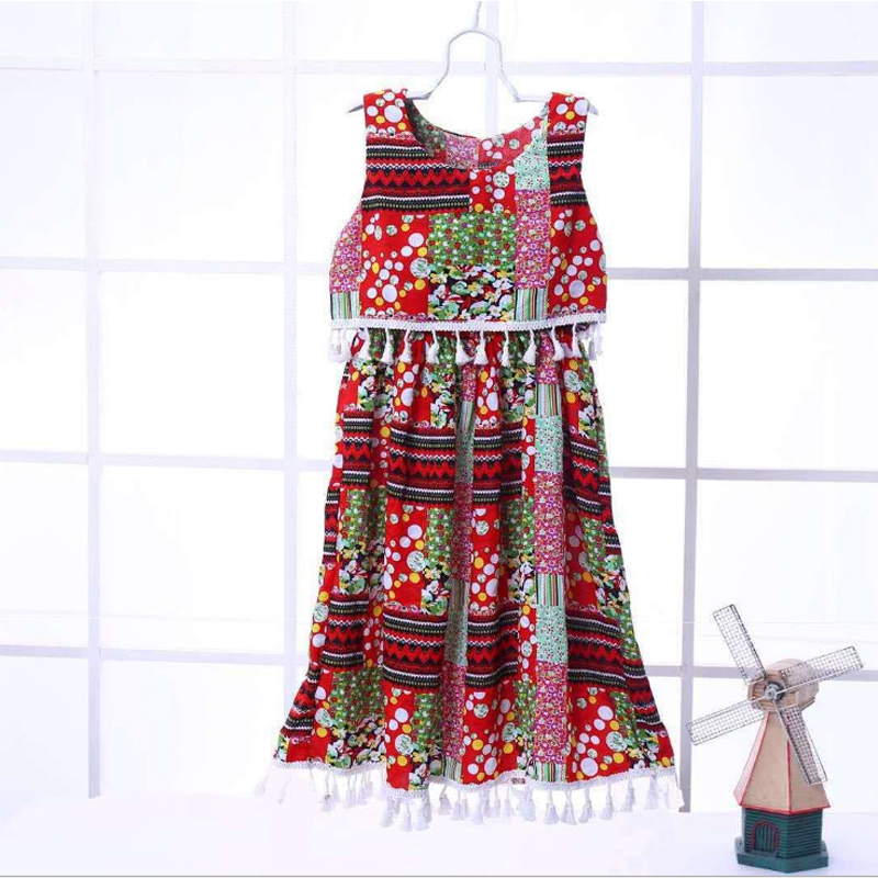 2018 New Summer Girl Dress Ethnic wind Style Polychrome For Childrens Clothes  Fringed dress