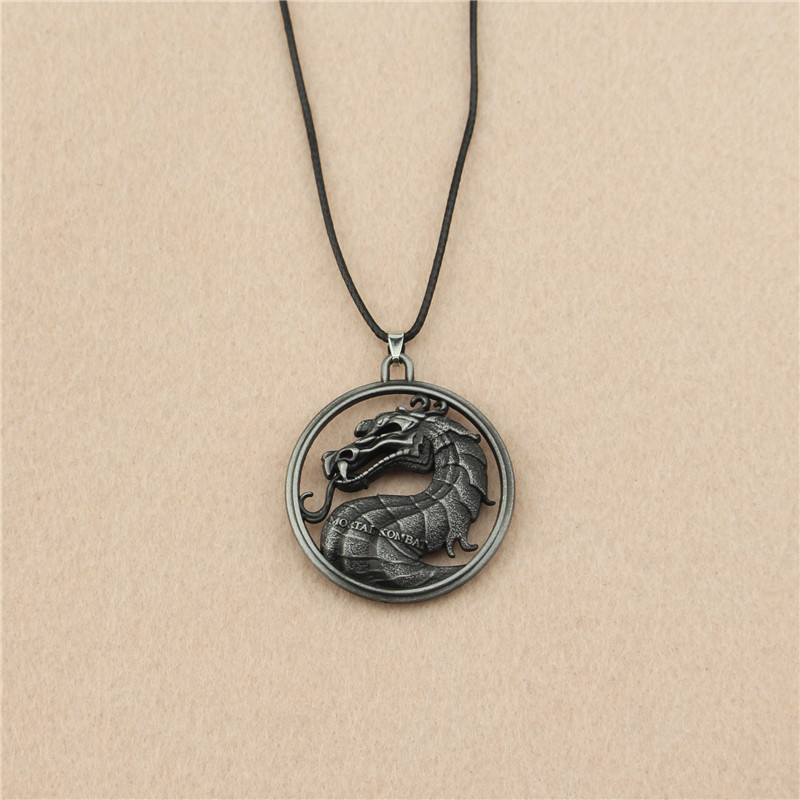 Fight Technology Game Necklaces And Keychains Vintage Fighting Games Mortal Kombat dragon Jane Empire Big Necklace movie jewelry