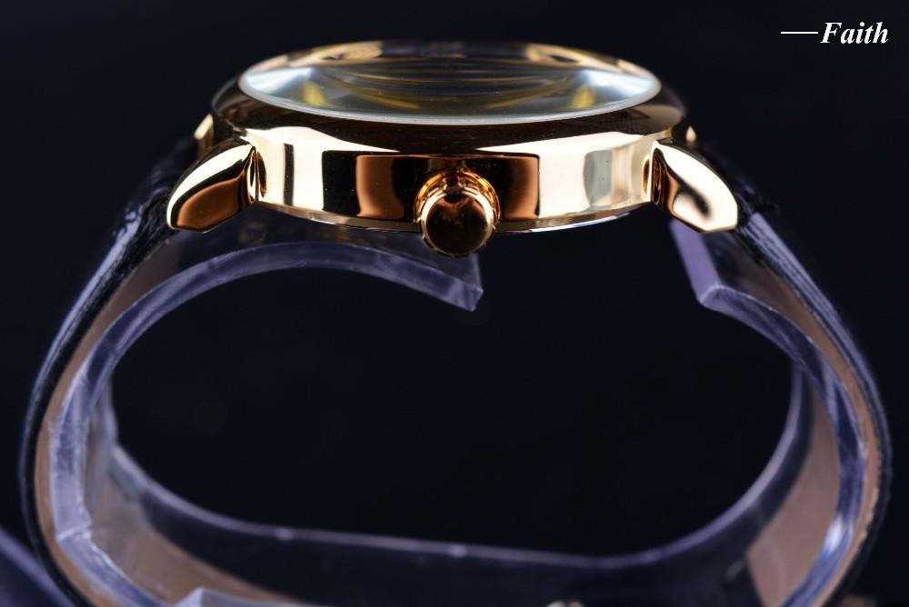 Forsining 3d Logo Design Hollow Engraving Black Gold Case Leather Skeleton Mechanical Watches Men Luxury Brand Heren Horloge 5