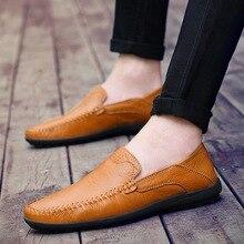 Из натуральной кожи Для мужчин; Лоферы слипоны без застежки повседневные Мокасины Для мужчин обувь на плоской подошве для вождения chaussure homme большой Размеры: 38-47
