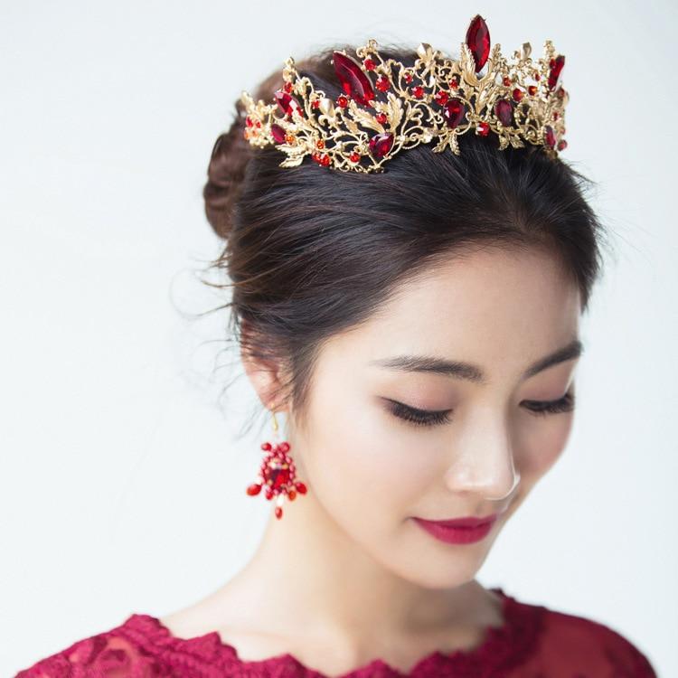 Vintage Red Crystal Bridal Tiara Wedding Hair Accessories Rhinestone Pageant Crowns Hair Jewelry Tiaras Bijoux Cheveux De Tete