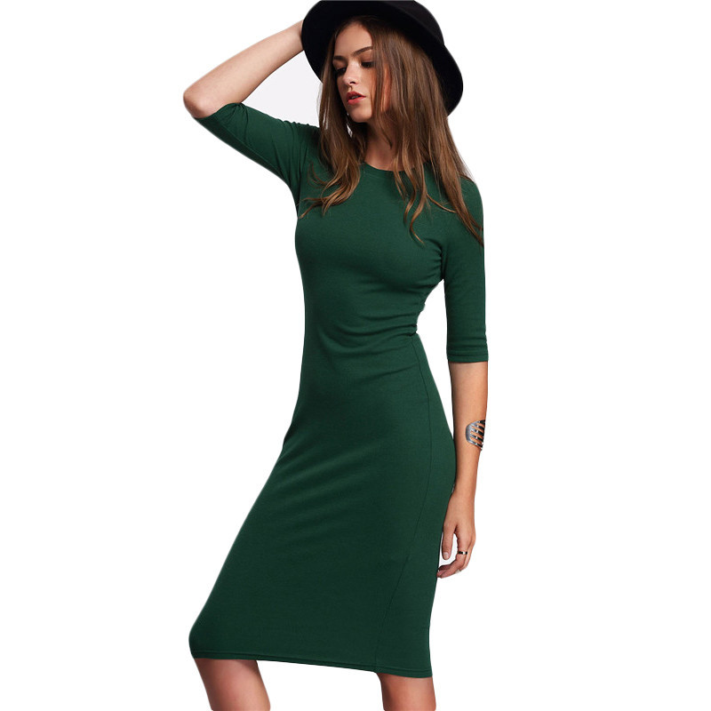 Green Crew Neck Half Sleeve Midi Work Bodycon Dress
