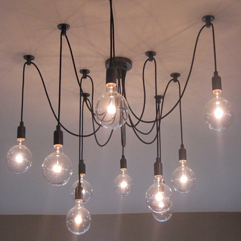 Modern Glass Pendant With E27 Hoder Lights Vintage Cord