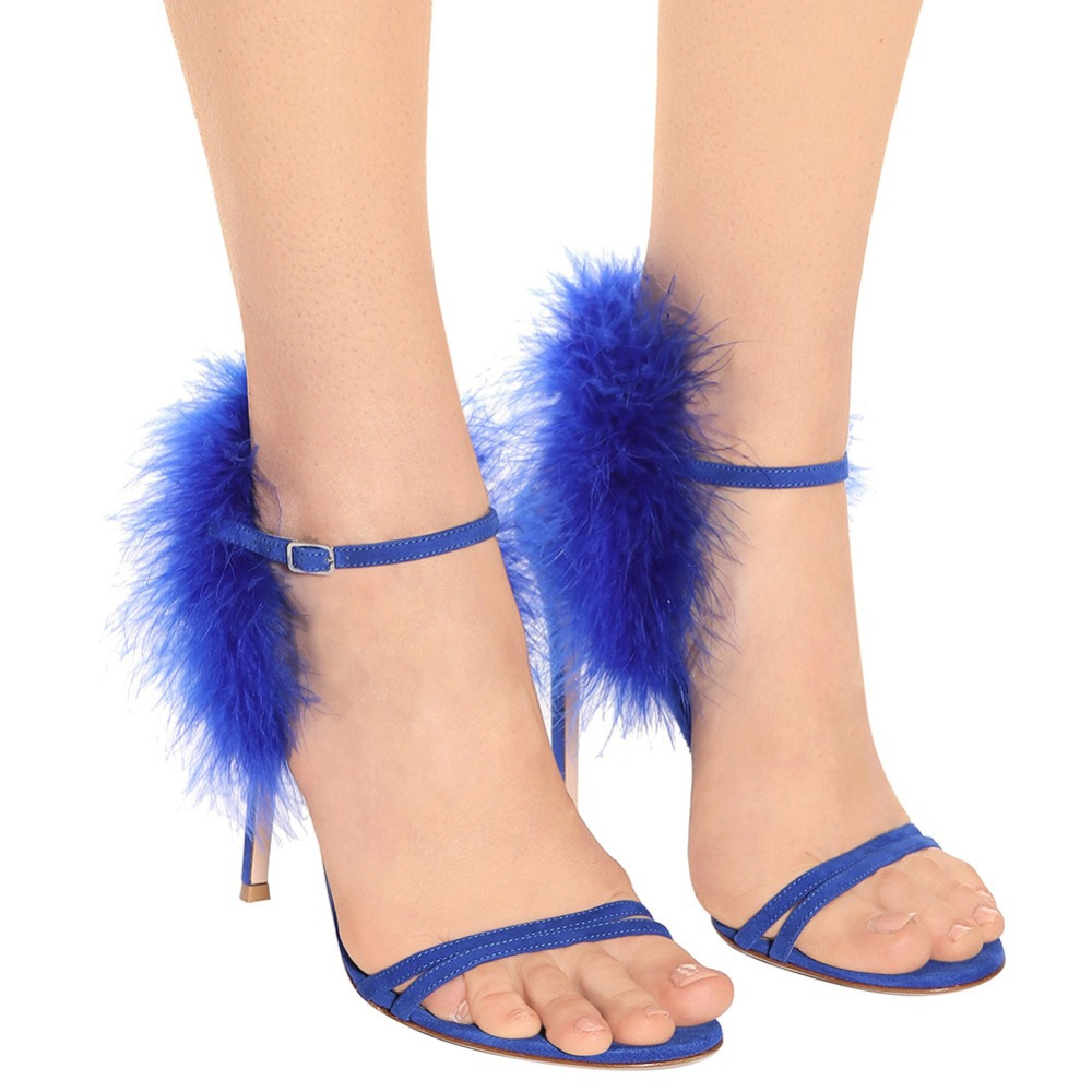 Sexy Royal Blue Feather Cover Heels Sandals Bird Soft Fur One Strap High Heels Open toe Gladiator Ladies Outfit Party SandalsSexy Royal Blue Feather Cover Heels Sandals Bird Soft Fur One Strap High Heels Open toe Gladiator Ladies Outfit Party Sandals