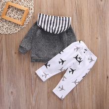 Long Sleeve Striped Patchwork hooded Top + Pants Clothes Outfits Suits