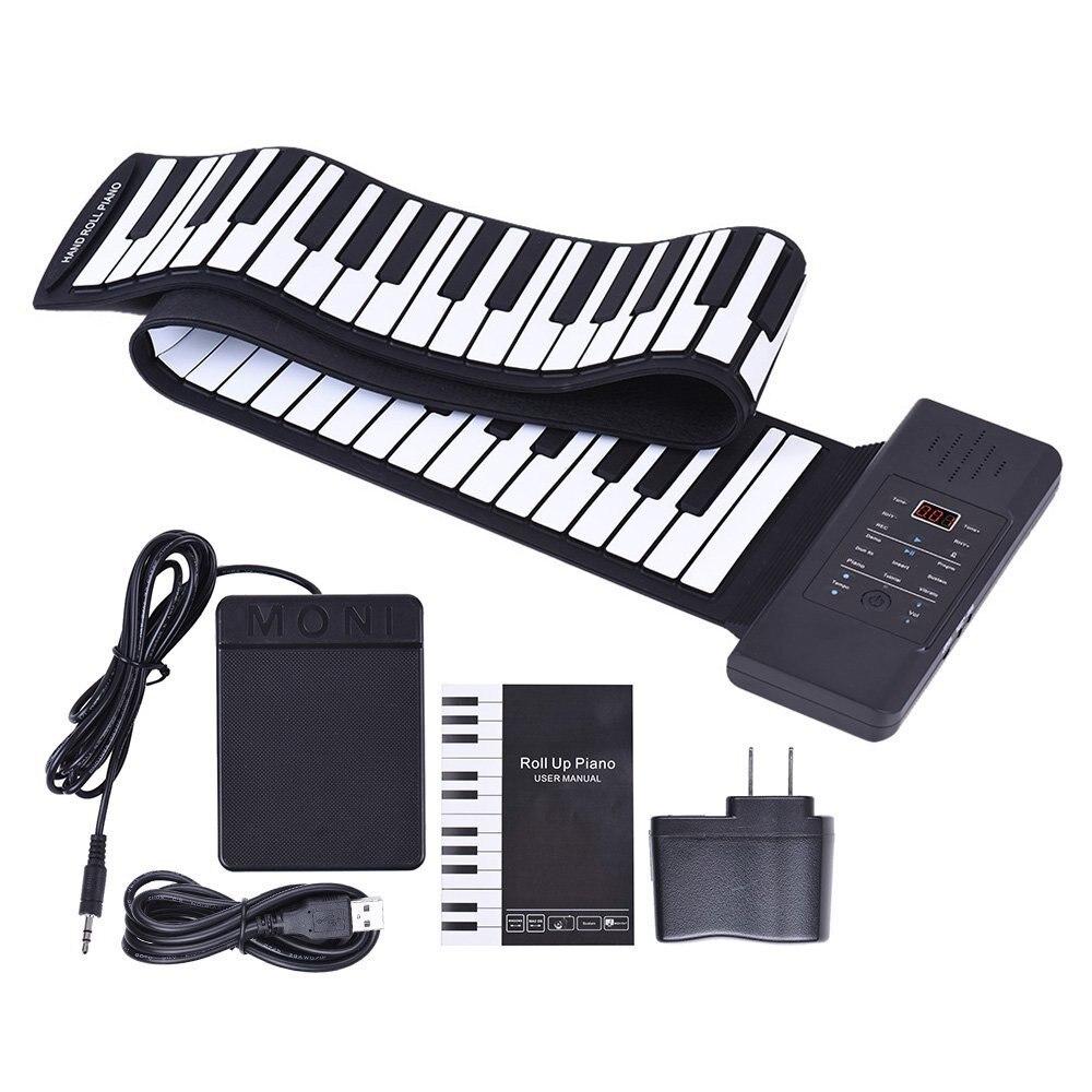 Portable 88 touches Flexible retrousser Piano avec affichage de LED USB MIDI électronique doux clavier jouets pour enfants enfant apprentissage cadeau