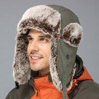 Yeni! erkekler Kadınlar Avcılık Yürüyüş Kayak Şapka Rus Kalpağı Kulak Flap Çene Kayışı Açık Malzemeleri Unisex Kış Sıcak Şapka Asker