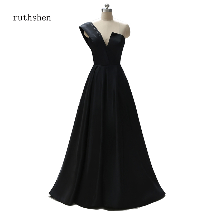 ruthshen Mother of the Bride Dress Women Mother Long Black Evening Dresses  2019 Plus Size One Shoulder Bridal Mother Gowns Party 3c27a931bf41