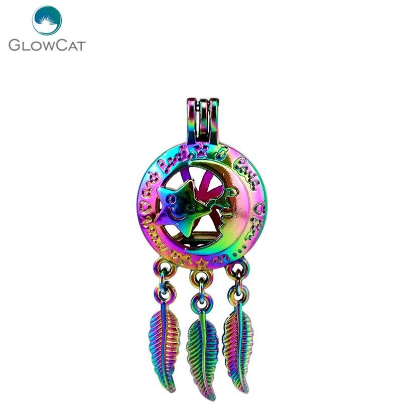 Necklaces & Pendants Adaptable C740 5pcs/lot Rainbow Color Dream Catcher Moon Star Leaf Cage Pendant Pearl Locket Fairytale Party