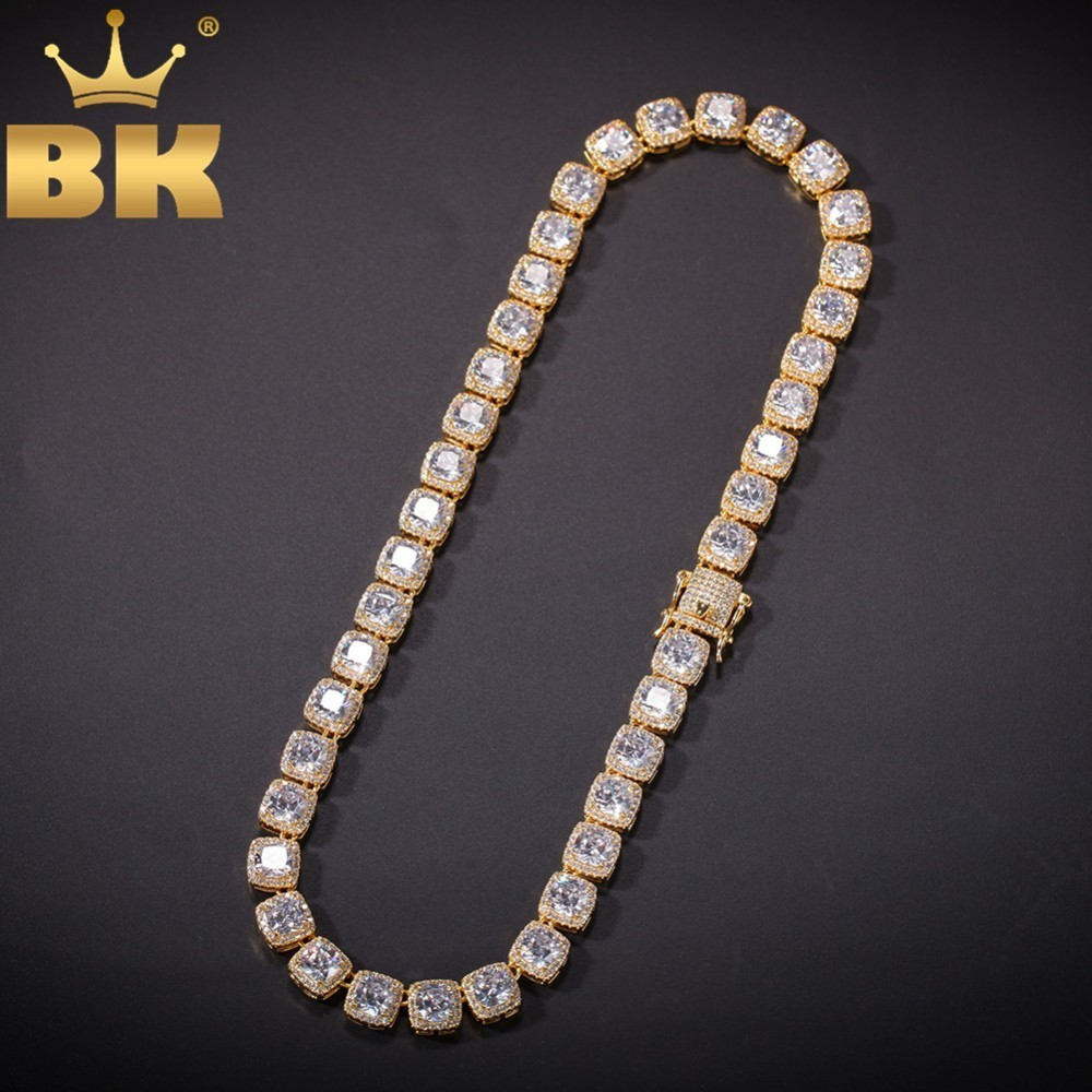 Le roi BLING 10mm collier de luxe carré gemme plein glacé cubique zircone Bling chaînes bijoux de mode colliers