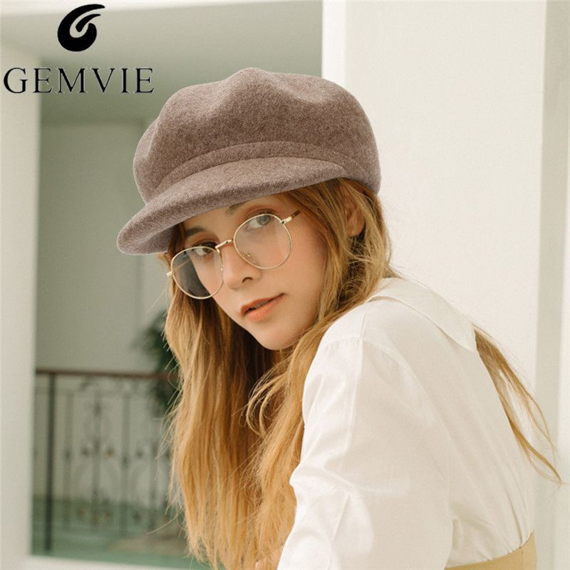 GEMVIE Autumn Winter Hat Cashmere Wool Felt Newsboy Cap For Women Baker Boy Cap Solid Color Lady Warm Elegant Octagonal Hat