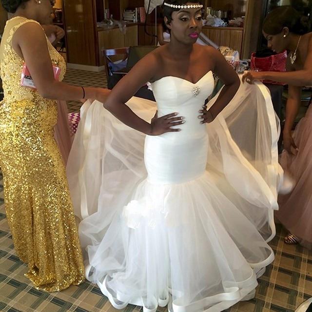Plus Size Women Africa Style Mermaid Wedding Dress White Lace Up ...