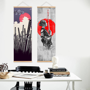 Image 2 - Japanese Samurai Scroll poster Canvas Print Poster with Wooden Hanger Wall Art Living Room Bedroom Home Decor scroll painting