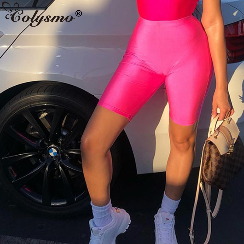 Colysmo Glossy Fluorescence Biker Shorts Tracksuit Slim Black Casual High Waist Shorts Women Fashion Solid Sexy Booty Shorts New