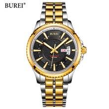 Luxury Brand BUREI Waterproof Men's Watches Full Steel Quartz Analog Army Military Sport Watch Clock Male Relogio Masculino