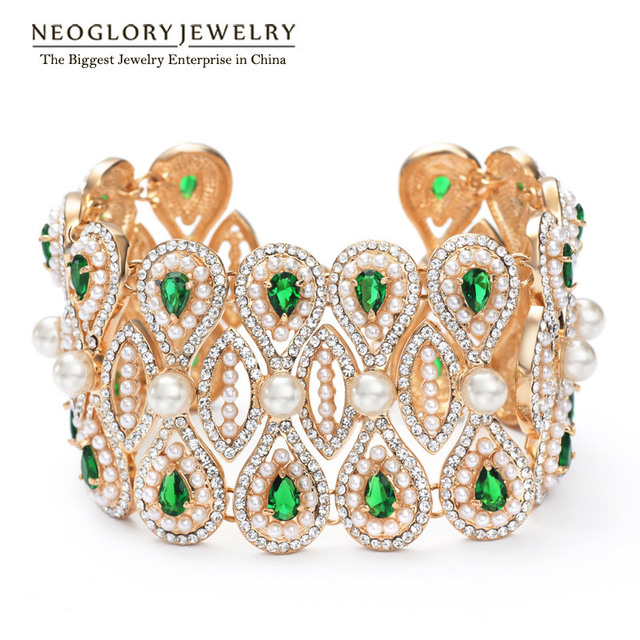 Neoglory Austrian Rhinestone Light Yellow Gold Color Bangle Bracelet  Fashion Simulated Pearl Jewelry for Women 2018 New ZPR1 QC 1689e7ba1b5f
