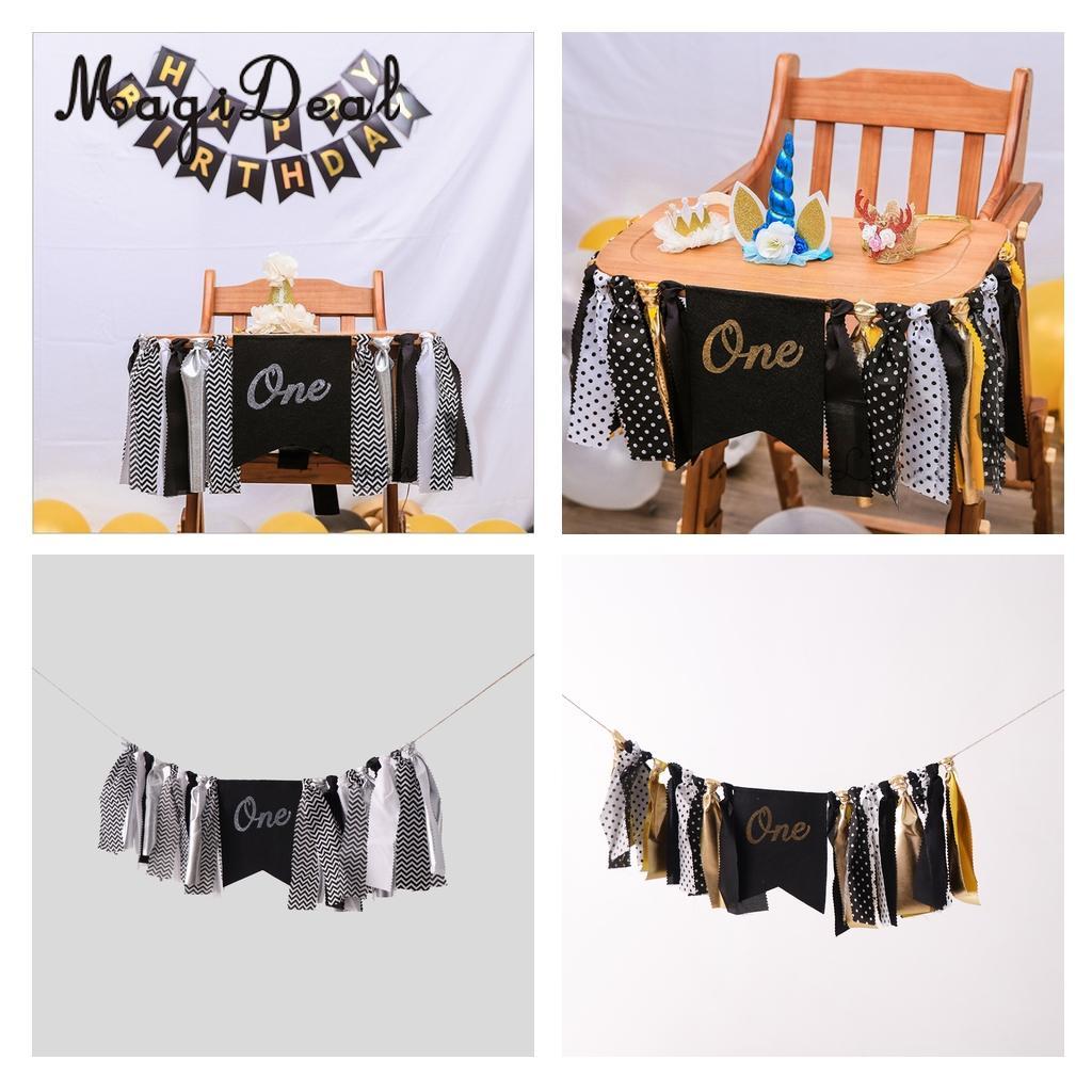 Baby Kids One 1st Birthday Highchair Banner Mustache Rag Tied Garland Cake Smash Tribal Camping Decor Silver/Gold
