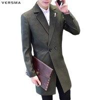 VERSMA Slim Fit Long Mens Black Double Breasted Blazer Jacket Men Latest Coat Design Men Suit