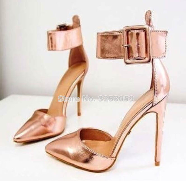 ALMUDENA Women Exquisite Gold Heels Rose Gold Silver Pointed Toe Shallow  Dress Shoes Nightclub Stage Shoes 7542716153a4