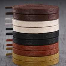 цены 1Pair Waxed Flat Shoelaces Leather Waterproof Casual Shoes Laces Unisex Boots Shoelace Length 60 80 100 120 140 160 180CM P3